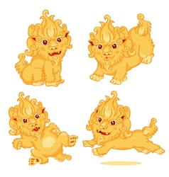 Set of lion chinese style cartoon character vector