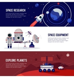 Space research flat horizontal banners set vector