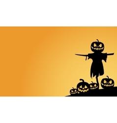 Scarecrow and pumpkins halloween backgrounds vector image