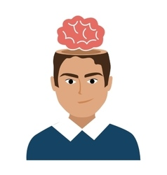 Avatar man with red brain graphic vector