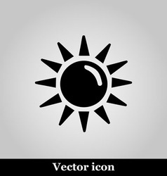Sun flat icon on grey background vector