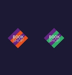 Developing creative set logo book shop red purple vector