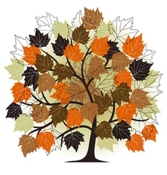 autumn - abstract tree - 2d vector image vector image