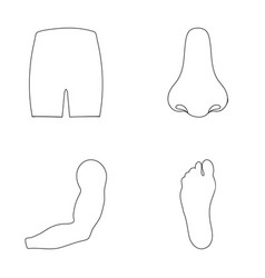 Buttocks nose arm foot part of the body set vector