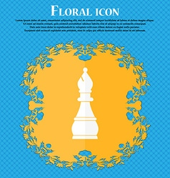 Chess bishop icon floral flat design on a blue vector