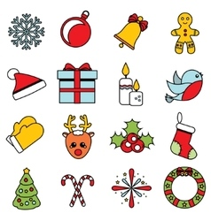 Christmas and new year icons set of winter vector