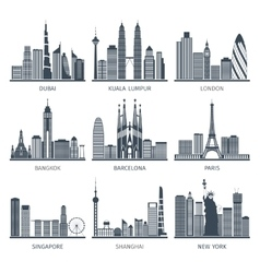 City skyline black icons set vector