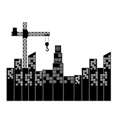 cityscape with construction crane isolated icon vector image