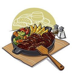Dinner with roasted meat vector