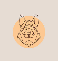Dog shepherd head in polygonal style vector