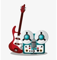 Electric guitar and recorder design vector