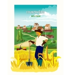 Farmer In The Countryside Background Poster vector image vector image