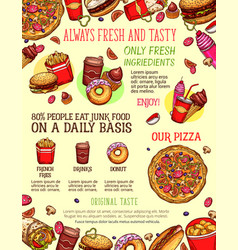 fast food menu banner with burger drink dessert vector image vector image