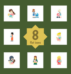 Flat icon parent set of kid mother parent and vector