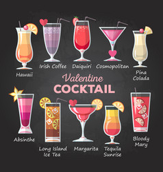 Flat style valentine cocktail menu vector