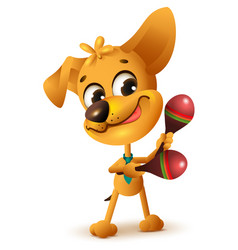 Funny yellow dog plays maracas vector