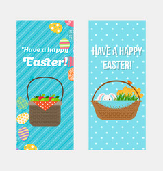 Happy easter vertical flyers template vector