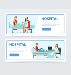 hospital and healthcare banners set doctors vector image