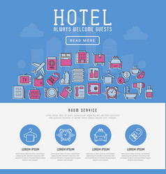 Hotel services concept with thin line icons vector