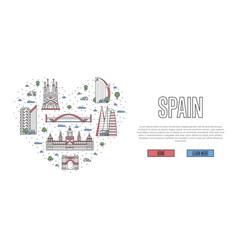 i love spain poster in linear style vector image vector image