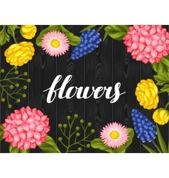 Invitation card with garden flowers decorative vector