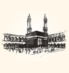 Kaaba holy symbolic building in islam vector