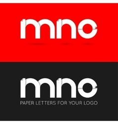 letter M N O logo paper set background vector image