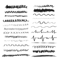Line brushes hand drawn strokes vector