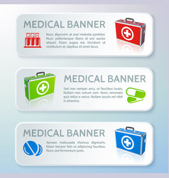 medical care horizontal banners vector image vector image