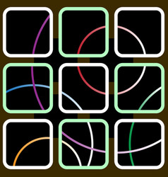 nine square contours with colored circles vector image vector image