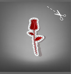 Rose sign red icon with for vector