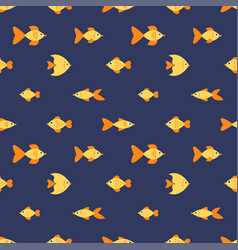 Seamless pattern with golden fishes vector