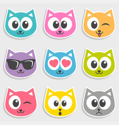 Set of colorful cats with different emotions vector