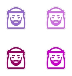 Set of paper stickers on white background arab men vector