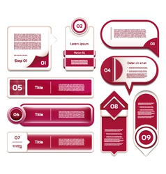 Set of red-violet progress version step icons vector