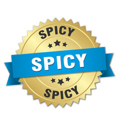 Spicy 3d gold badge with blue ribbon vector