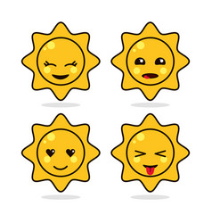 Sun yellow kawaii cartoon happy cute icon vector