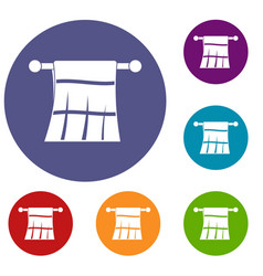 Towel on a hanger icons set vector