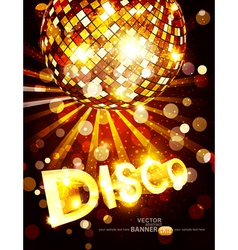 Vertical disco background with golden disco ball vector