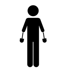 Person with hand prosthesis isolated icon design vector