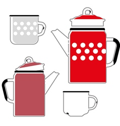 Iron red kettle and cup for coffee vector