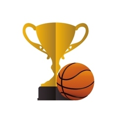 Gold trophy and basketball design vector