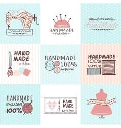 Handmade needlework badges set vector