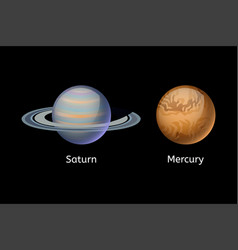 high quality mercury galaxy astronomy saturn vector image