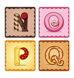 Letters n o p q candies vector