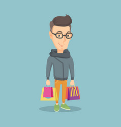 Happy man with shopping bags vector