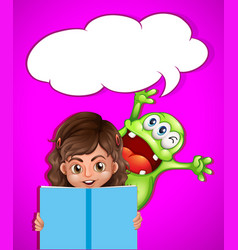 Girl and monster reading book vector