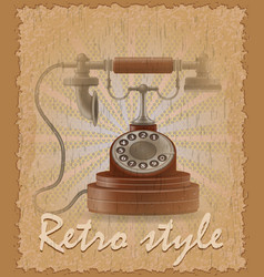 Retro style poster old phone vector