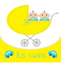Baby carriage its twins boys shower card flat vector