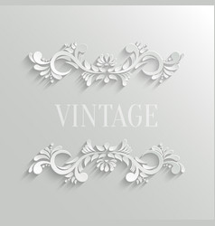 3d floral invitation card in vintage style vector